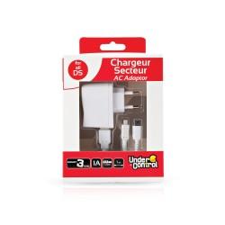 CHARGEUR SECTEUR BLANC 3DS DS UNDERCONTROL 1M - Accessoires 3DS au prix de 6,95€