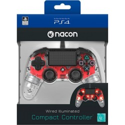 MANETTE FILAIRE PS4 NACON CLEAR RED - Accessoires PS4 au prix de 39,95€