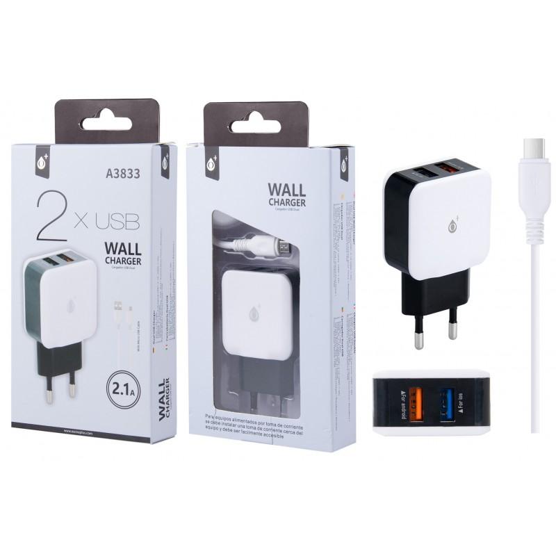 CHARGEUR SECTEUR MICRO USB ONE PLUS DOUBLE - Connectique Multimédia au prix de 9,95€
