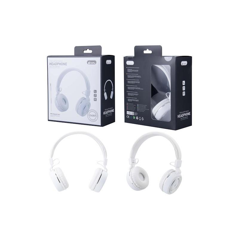 CASQUE FILAIRE BLANC ARGENT ASTEROIDES ONE PLUS AVEC MICRO - Ecouteurs Téléphones au prix de 19,95€