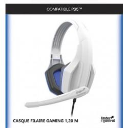 CASQUE FILAIRE PS5 BLANC X-10 JACK 1.2M - Casques Gaming au prix de 19,95€
